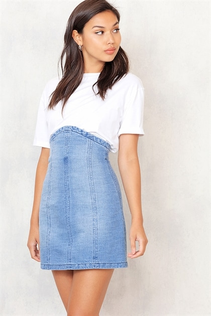 Crush Denim Skirt